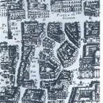 La zona di Piazza di Pietra in una carta di G.B. Falda del 1676